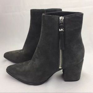 Michael Kors Dawson Suede Mid Booties Ankle GRAY 5